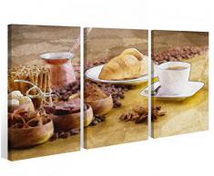 Leinwand 3 tlg. Kaffee Bohnen Cafe Küche Essen Bilder Wandbild Tasse 9A387, 3 tlg BxH:90x60cm (3Stk 30x 60cm)