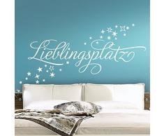Grandora Wandtattoo Wort Lieblingsplatz + Sterne I dunkelgrau (BxH) 122 x 58 cm I Schlafzimmer Wohnzimmer Sticker Aufkleber Wandsticker Wandaufkleber 1067W