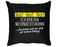 Weihnachten Geschenk Idee Kissen mit Innenkissen - WEIHNACHTSMANN Advent Deko Nikolaus 40x40cm schwarz : )