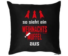 Weihnachten Deko Nikolaus Kissen mit Innenkissen - WEIHNACHTSMUFFEL Advent Geschenk Idee 40x40cm schwarz : )