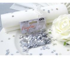 EinsSein 14g Streudeko Konfetti Hochzeit Herz klein Silber metallisch Tischdeko Hochzeit