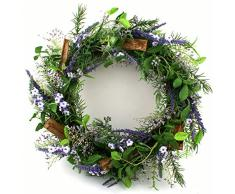 Präsente Shop Blütenkranz Blumenkranz Wandkranz Türkranz Lavendel Rosmarin Kunstpflanzen Ø ca. 36 cm