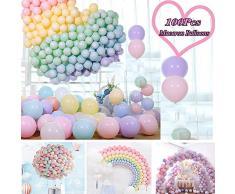 JWTOYZ Luftballons Pastell, 100pcs 12 Luftballons Bunt, Ballons Pastell Macaron, Luftballons Pastellfarben Mix für Hochzeit Geburtstagsparty Babyparty Valentinstag Dekoration
