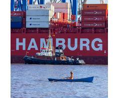 """Quadratisches Leinwandbild auf Keilrahmen: """"Ausflug im Hamburger Hafen"""" - Maritime Leinwandbilder, Leinwanddrucke, Keilrahmenbilder, Wandbilder, Bilder (20 x 20 cm)"""