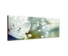 Panoramabild auf Leinwand und Keilrahmen 150x50cm Blume Blüte Farbfilter abstrakt