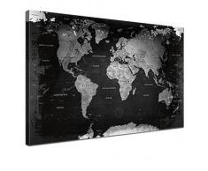 Lana KK - Weltkarte Retro SW mit Kork Rückwand - edel Leinwand Bild Kunstdruck auf Keilrahmen, Pinnwand für Weltenbummler 120 x 80 cm