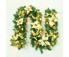 EXQUILEG 2.7m Weihnachtsgirlande Tannengirlande mit Christbaumkugeln,Blume,LED-Lichter und Zubehör Weihnachtsdekoration,Batteriebetrieben (B-Gold)