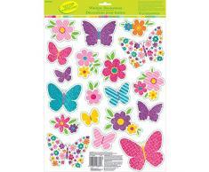 NET TOYS 19 Zauberhafte Fensterbilder Schmetterling - 43,1x30,5cm - Glitzernde Fenster -Deko Fenstersticker Blumen - Bestens geeignet für Kinderfest & Kindergeburtstag