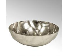 Lambert Nyima Schale Diamantoptik rund groß Nickel D46cm Metallaccesoires, Vernickelt, Silber, One Size