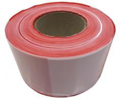 Absperrband 500m rot/weiß 80mm PE-Folie reißfest Spenderbox Flatterband Foliensperrband Warnband (520-75)