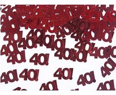 PartyDeco Tischkonfetti Nummer 40, rot, Packung