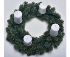 Hochwertiger künstlicher Adventskranz (PE mit Metallkern) mit 4 abnehmbaren Kerzentellern mit Dorn für echte Kerzen, Höhe: 10cm / Ø45cm (PE-K45-KT)