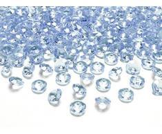 100 Stück Dekosteine Diamanten 1,2 cm // Steru Deko Hochzeit Taufe Kommunion Streudeko Tischdeko (hell blau 011)