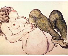 1art1 68009 Egon Schiele - Akt Mit Grünen Strümpfen, 1918 Poster Kunstdruck 50 x 40 cm