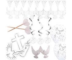 Folat 3-teiliges Decken-Deko Set * Weisse Taube + Kreuz + Kerze * für Konfir