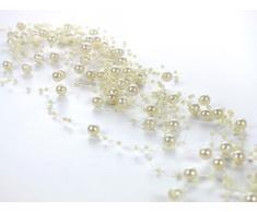 SiDeSo® 75m Rolle Perlengirlande Tischdeko Hochzeit Perlenschnur (creme)