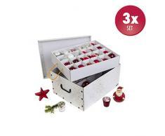 3 Stück XXL Dekokarton in Weiß/Gold - formschön und hochwertig. Mit Einsätzen für max. 40 Christbaumkugeln oder Weihnachtsdeko. Karton aus stabiler Pappe in Weiß/Gold mit Griffen aus Kunststoff! Topp