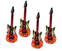 marion10020 Aufblasbare Luftgitarren Luftgitarre Air Luft Guitar, im Feuer-Design, 100 cm, 4er-Set
