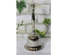 Gr Tischglocke 14cm vernickelt Schulglocke Handglocke Schiffsglocke Glocke Silber