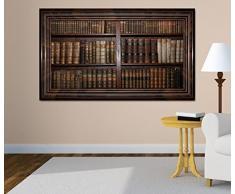 3D Wandtattoo alte Bücher Buch Regal antik Bibliothek selbstklebend Wandbild Tattoo Wohnzimmer Wand Aufkleber 11L456, Wandbild Größe F:ca. 140cmx82cm