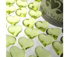 30x Dekosteine Herzen 22mm EinsSein® hellgrün Dekoration Streudeko Konfetti Tischdeko Hochzeit