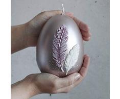 holzalbum Osterkerze Kerze Osterei Eierkerze 14 x 10 cm aus Wachs mit Kranz Wachsei Eier