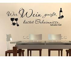 Graz Design 620249_30_070 Wandtattoo Deko für Küche Esszimmer gestalten Fliesentattoo Ideen Retro Vintage Zitat Wer Wein genießt kostet Geheimnisse 93x30cm Schwarz