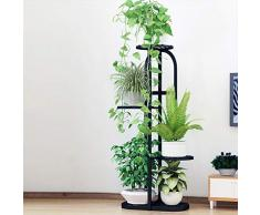 Dittzz Blumentreppe Metall, Blumenständer mit 5 Ablagen Pflanzentreppe für Haus/Garten/Terrasse/Flur stufenförmig Blumenregal,82 x 45 x 22cm