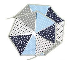 Oblique Unique® Wimpel Girlande Wimpelkette Doppelseitig Kinder Geburtstag Party Feier Dekoration Farbenfroh Blau Grau
