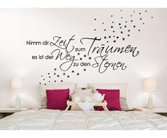 Wandtattoo-Günstig G003 Spruch Schlafzimmer Nimm dir Zeit zum Träumen... + Sterne Wandaufkleber Wandsticker braun (BxH) 135 x 41 cm
