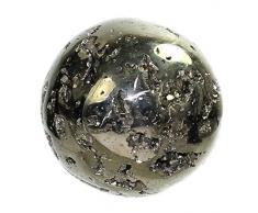 budawi® - wunderschöne Pyrit Kugel Ø 62 mm, Edelsteinkugel/Dekokugel mit Pyritkristallen
