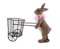 Clayre & Eef 6PR0689 Deko Dekoration Figur Hase Kaninchen mit Korb auf Rädern ca. 12 x 25 x 26 cm