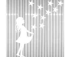 Sterntaler weiß + 10 Sterne Sternchen Sternfänger Christkind Aufkleber Tattoo Winter Fenster Deko Folie Weihnachten