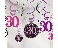 FesteFeiern zum 30 Geburtstag I 13 Teile Deckenhänger Spiralen und Tischkonfetti pink schwarz violett I Party Deko Set happy birthday 30