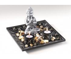 Dekoschale mit zwei Kerzenhaltern aus Holz und Buddha