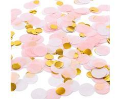 Whaline 6000 Stück Rose Gold Rosa Konfetti, 1 Zoll Seidenpapier Tabellen Konfetti für Geburtstag Baby Dusche Party Hochzeit (3 Farben)