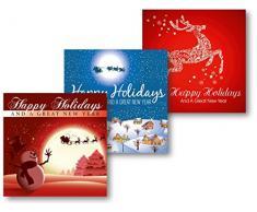 Weihnachtskarten 5er-Pack:Rentier/Nacht/Schneemann