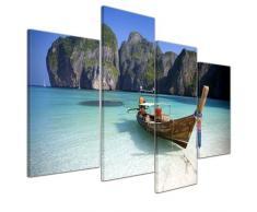 Bilderdepot24 Leinwandbild Maya Bay, Koh Phi Phi Ley - Thailand - 120x80 cm 4 teilig - fertig gerahmt, direkt vom Hersteller