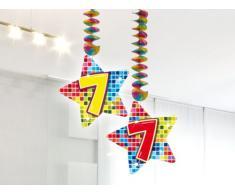 2x Decken Dekoration * 7. Geburtstag * für Kindergeburtstag // 60807 // Birthday Kinder Party Hängende Deko Hanging Deco Zahlendeko Zahl Zahlen sieben siebter
