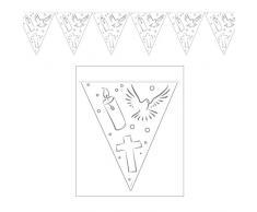 Folat 10m Wimpel-Girlande * Weisse Taube + Kreuz + Kerze * für Konfirmation,