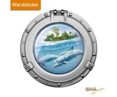 Graz Design 651022_57 Wandsticker Sticker Wandaufkleber für Badezimmer Bullauge Delfine Insel Wasser (Größe=57x57cm)