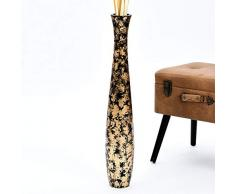 Leewadee Große Bodenvase für Dekozweige hohe Standvase Design Holzvase 75 cm, Mangoholz, Gold