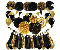 Zerodeco Party Dekoration, Schwarz Gold Papier Pompoms Aufhängen Fächer Dreieckswellenflagge Hängende Girlande Luftballon für Geburtstag Weihnachten Karneval Silvester Neujahr New Year Dekoration