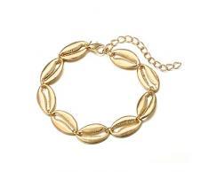AueDsa Damen Fusskette Kupfer Schale-Kette Fußkette Damen Gold