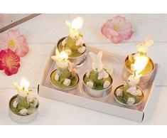 Hoff-Interieur 6er Set Teelichter Bunnies Hasen Kerze Ostern Osterhase Tisch Tischdeko