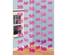 PINK 6er SET Hänge Dekoration 50.Geburtstag Girlanden