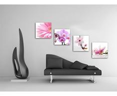 Blumen Blüten   Set B Schwebend, 4 Teiliges Bilder Set Je Teil 29x29cm