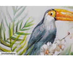 KunstLoft® Gemälde Baron Tukan 60x60cm   original handgemalte Leinwand Bilder XXL   Vogel Tukan Tier Bunt Dschungel   Wandbild Acryl bild moderne Kunst einteilig mit Rahmen
