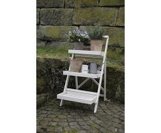 Esschert Design Balkon Pflanzentreppe, Blumenregal, Blumentreppe in weiß, ca. 45 cm x 73 cm x 92 cm