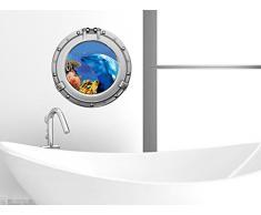 Graz Design 651035_50 Wandsticker Wandtattoo Wandaufkleber Badezimmer Bullauge Delfin Korallen WC (Größe=50x50cm)